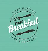 Vector Banner On The Theme Of Breakfast Time With Fork And Knife On The Green Background With Inscri poster