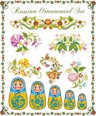 Vector ornamental set in traditional Russian style, including Matryoshka dolls and various floral de
