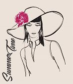 Fashion Girls Face. Woman Face. Hand-drawn Fashion Model. Girl Face On A White Background. Hair Styl poster