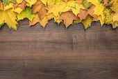 Top View Of Autumn Leaves On Brown Backdrop. Bright Yellow Autumn Leaves On Wooden Background. Autum poster
