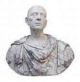 Ancient mable statue of the roman emperor Julius Caesar isolated on a white background with clipping path