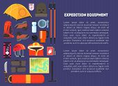 Expedition Equipment Banner Template With Place For Text, Hiking, Camping And Mountaineering Equipme poster