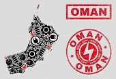 Composition Of Mosaic Power Supply Oman Map And Grunge Stamp Seals. Mosaic Vector Oman Map Is Create poster
