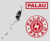Composition Of Mosaic Power Supply Palau Map And Grunge Stamp Seals. Mosaic Vector Palau Map Is Desi poster