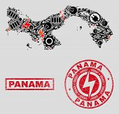 Composition Of Mosaic Power Supply Panama Map And Grunge Stamp Seals. Mosaic Vector Panama Map Is Co poster