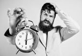 Time Management Skills. How Much Time Left Till Deadline. Time To Work. Man Bearded Stressful Busine poster