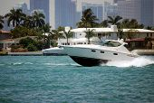 White Luxury Boat On The Intercoastal