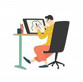Funny Young Man Sitting At Desk And Drawing On Graphic Tablet. Digital Designer, Illustrator Or Free poster