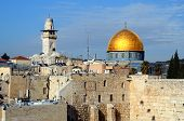 The Western Wall is the remnant of the ancient wall that surrounded the Jewish Temple's courtyard in jerusalem, Israel. Dome of the Rock is a Muslim Shrine located on the Temple Mount.