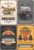Music And Sound Recording Studio, Vinyl Records Shop And Music Festival Vintage Retro Posters. Vecto poster