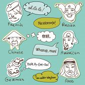 Different stereotypes of nationalities from all over the world. Hand drawn doodles.