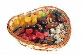 Dried Fruits In A Wattled Basket