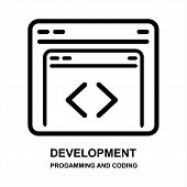 Development Icon Isolated On White Background From Programming And Coding Collection. Development Ic poster