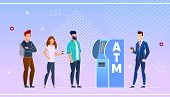 Bank Customers Using An Atm Vector Illustration. Advantage Online Payment Before Withdrawing Cash In poster