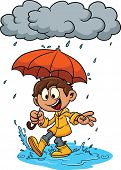 Cartoon kid playing in the rain. Vector illustration. All in a single layer.