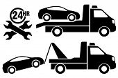 stock photo of wreckers  - Car towing truck icon - JPG
