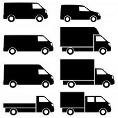 Commercial van icons set. See also commercial vans in color.
