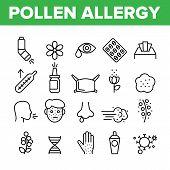Pollen Allergy Symptoms Vector Linear Icons Set. Spring Seasonal Allergy, Respiratory Infection Outl poster