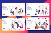 Music Festival Vector Landing Pages Set Template. Illustration Of Musician Concert, Festival Page, L poster