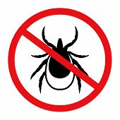 Vector Image Of A Tick In A Red Crossed-out Circle - Tick Stop Sign poster