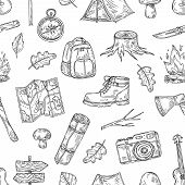 Camping Pattern. Hiking, Family Camp In Natural Wood. Scout Outdoor Adventure Sketch Outline Vector  poster