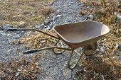 stock photo of hand-barrow  - A hand barrow in the garden  - JPG