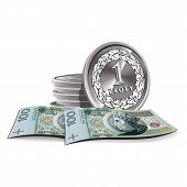 zloty banknotes and coins vector illustration, financial theme