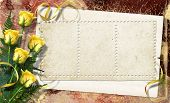 Card For Congratulation Or Invitation With Roses On Abstract Background.