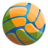 Volleyball Ball Icon. Cartoon Of Volleyball Ball Vector Icon For Web Design Isolated On White Backgr poster