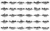 stock photo of city silhouette  - Incredible set of USA city skyline - JPG