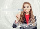 Happy Business Woman Pointing To Empty Address Bar In Virtual Web Browser. Seo, Internet Marketing,  poster
