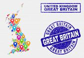 Vector Bright Mosaic Great Britain Map And Grunge Stamp Seals. Abstract Great Britain Map Is Compose poster