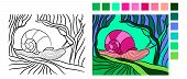 Vector Drawing Of Snail. Mollusk In Contour Style For Fauna Coloring Book. Coloring Book Page For Ad poster