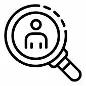 Man Under Magnifying Glass Icon. Outline Man Under Magnifying Glass Vector Icon For Web Design Isola poster