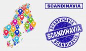 Vector Colorful Mosaic Scandinavia Map And Grunge Stamp Seals. Flat Scandinavia Map Is Created From  poster