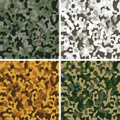 stock photo of camo  - Set of camouflage digital pixel seamless patterns - JPG