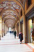Artistic Portico On Piazza Cavour In Bologna, Italy