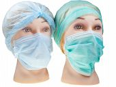Dummy Doctor Heads Wearing Textile Surgical Cap And Mask