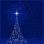 image of christmas star  - Square blue christmas card showing a Christmas tree made of shiny stars with a glowing tree top star and snowfall - JPG