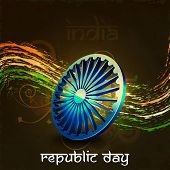 Indian flag color creative wave background for Republic Day EPS 10.