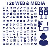 120 web & media icons set, vector