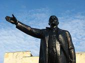 black monument to the leader of world proletariat Lenin