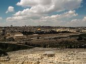 Panorama Of The Temple Mount, Including Al-aqsa Mosque, And Dome Of The Rock, From The Mount Of Oliv
