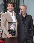 LOS ANGELES - NOV 07:  Javier Bardem & Sam Mendes arriving to Walk of Fame Honors Javier Bardem  on