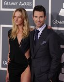 LOS ANGELES - FEB 12:  Adam Levine & Anne Vyalitsyna arriving to Grammy Awards 2012  on February 12,