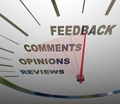A speedometer tracking and measuring the level of customer satisfaction through comments, reviews, opinions and other forms of feedback