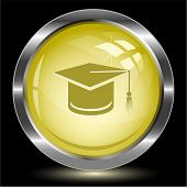 Graduation cap. Internet button. Vector illustration.