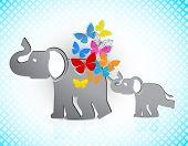 Baby and mama elephant