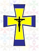 Multicolor Cross With Black Jesus Cross On The Transparency Colorful Cristal Wall