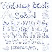 welcome back to school doodle font on lined sheet
